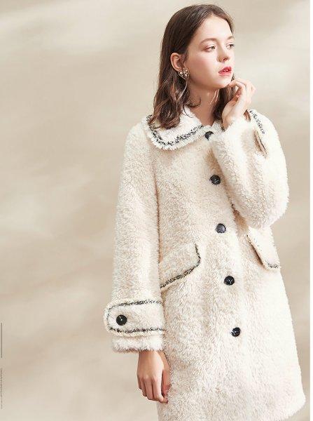画像1: Women's Tweed Trimming Teddy Bear Fur Coat ツイードトリミング テディベア オーバーサイズ リアルシープファーコート (1)
