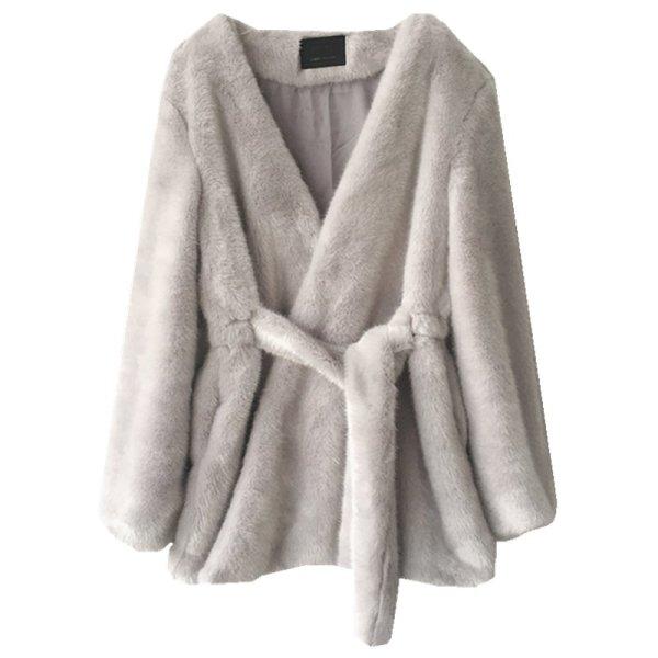 画像1: Women's Mink velvet imitation fur coat フェイクミンクファーミドル丈コート (1)