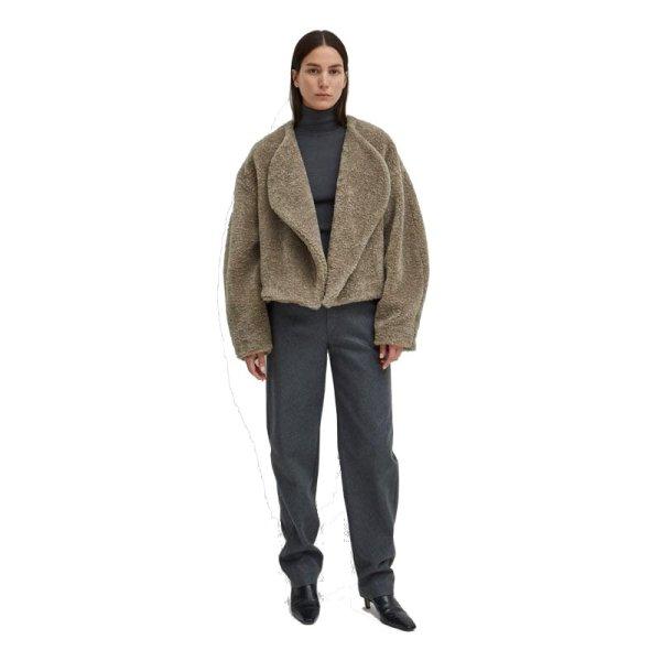 画像1: Women's  faux fur buttonless short lapel plush coat  ベラックフェイクファーボタンレスショートラペルコート ジャケット (1)