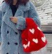 画像4: Woman's mink fur straw bag bucket bag far Bags リアルミンクファーハートモチーフトート バッグ  (4)
