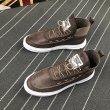 画像2: Men's Lace-up leather high-cut boots sneakers メンズ レザーレースアップハイカットスニーカーブーツ    (2)