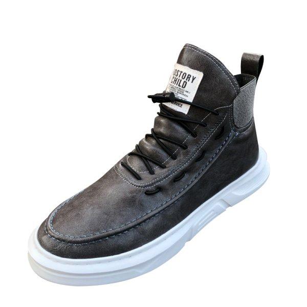 画像1: Men's Lace-up leather high-cut boots sneakers メンズ レザーレースアップハイカットスニーカーブーツ    (1)