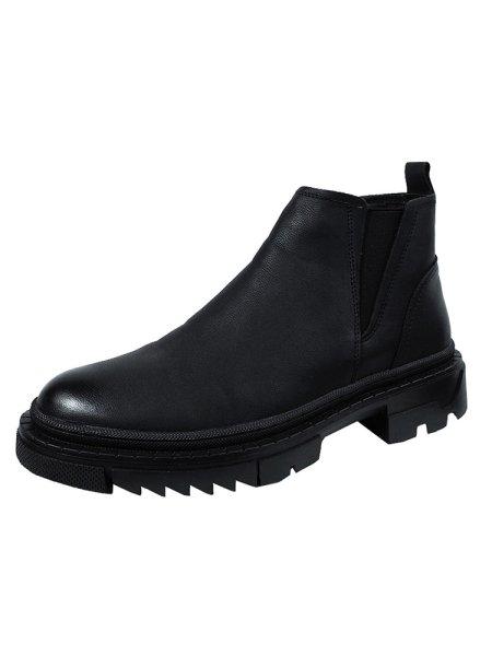 画像1: Men's British high-top leather boots Short Boots sneakers メンズサイドゴアハイカット厚底ブーツ    (1)
