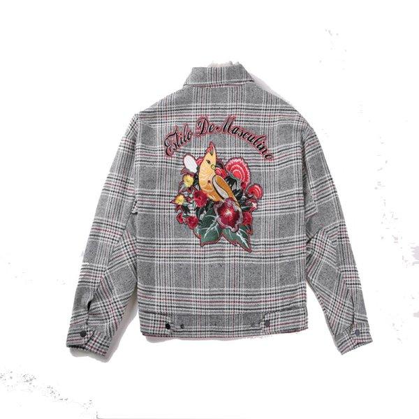 画像1: men's checked embroidered lapel short casual men's jacket  バック刺繍チェックジャケットブルゾン コート (1)