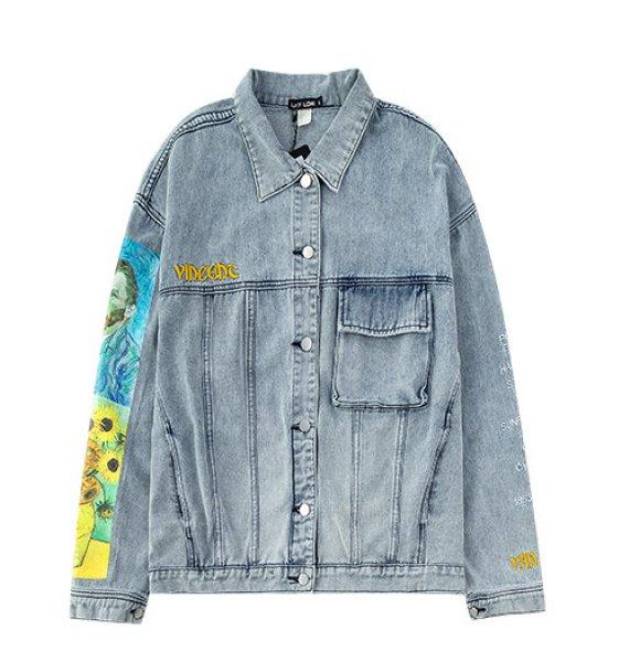 画像1: men's Van Gogh  print  casual denim jacket  ユニセックス男女兼用ゴッホ ひまわりプリントデニムジャケットブルゾンGジャン コート (1)