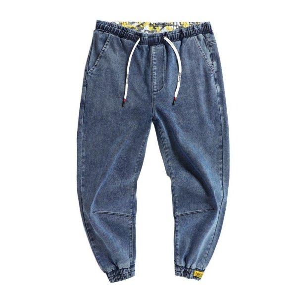 画像1:  Men's elastic waist stretch loose feet jeans  Pants メンズルーズウエストストレッチデニムパンツ ジーンズ (1)