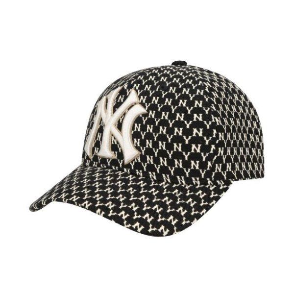 画像1: NY embroidery monogram adjustable baseball capユニセックス NY ニューヨークヤンキース ベースボールキャップ 野球帽 (1)
