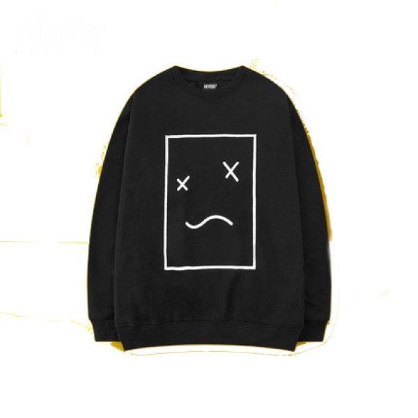 画像1:  men's  men and women round neck Smile face sweatshirt sweater ユニセックス男女兼用 スマイルプリントスウェット トレーナー (1)