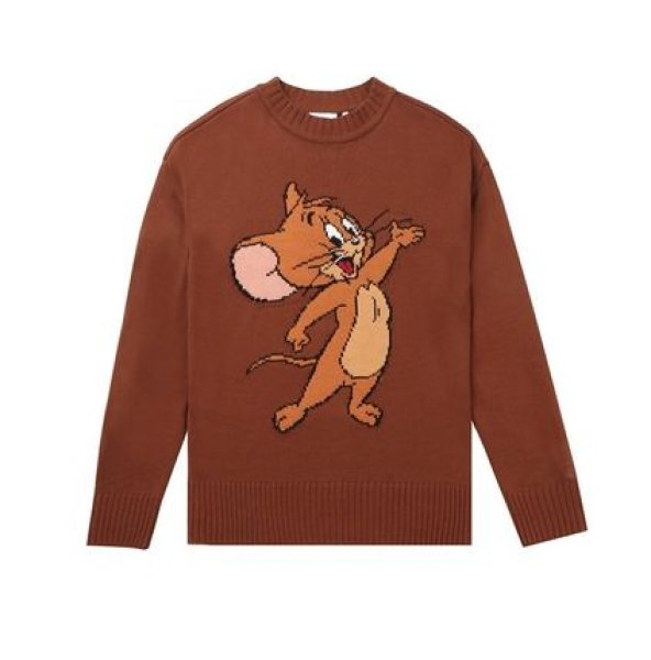 画像1:  men's  men and women Tom and Jerry  round neck pullover sweater  ユニセックス男女兼用 トム&ジェリーセーター (1)