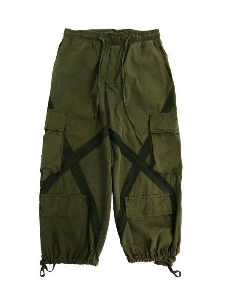 画像1:  Men's cross-colored overalls Harem pants loose  Pants メンズクロス付きルーズパンツ  (1)