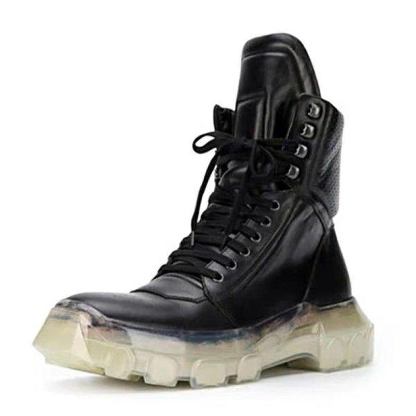 画像1: Men's Martin high-top cowhide leather boots メンズ本革レザーレースアップハイカット厚底ブーツ    (1)