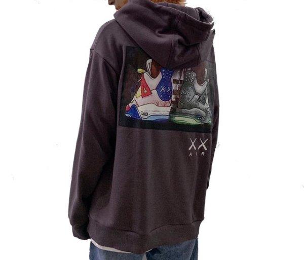 画像1:  men's shoes printed  loose hooded sweater ユニセックス男女兼用スニーカーバックプリントフーディーパーカー トレーナー (1)