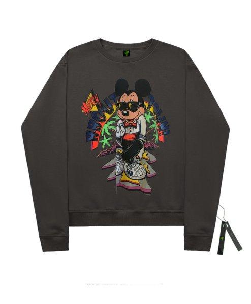画像1:  men'sSunglasses mickey mouse print Hoodie round neck hooded sweater ユニセックス男女兼用愉快なミッキーマウスプリントプルオーバ ートレーナー (1)