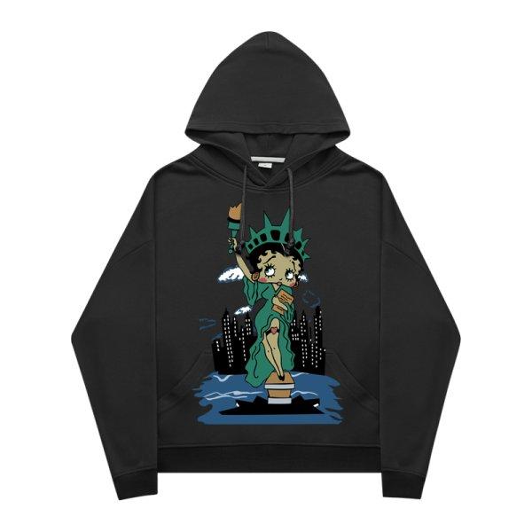 画像1:  men's  Betty Statue of Liberty Print Hoodie round neck hooded sweater ユニセックス男女兼用ベティーの自由の女神像プリントフーディーパーカー トレーナー (1)