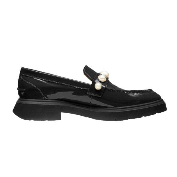 画像1: women's leather pearl patent leather pumps loafers slip-ons  パテントレザーエナメル厚底パール付きローファーパンプス  (1)