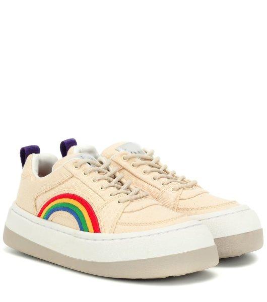 画像1:  women's Canvas sneakers with platform rainbow Low cut sneakers 厚底レインボー付きキャンバススニーカー キャンバスローカットスニーカースニーカー (1)