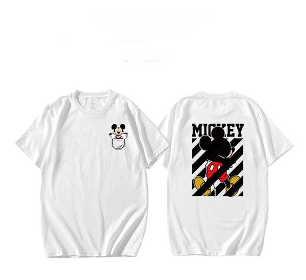 画像1: men's &woman Mickey Mouse joint short-sleeved T-shirt ミッキーマウスジョイントラウンド半袖Tシャツ  (1)