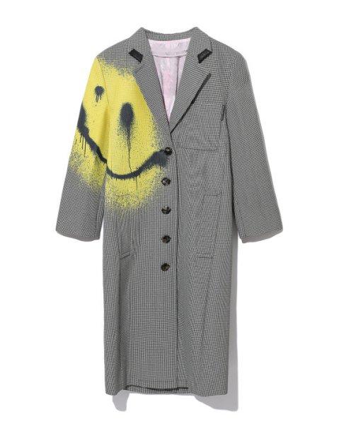 画像1:   smiley graffiti houndstooth coatスマイリーグラフィティハウンドトゥースコートトレンチコートロングコート (1)