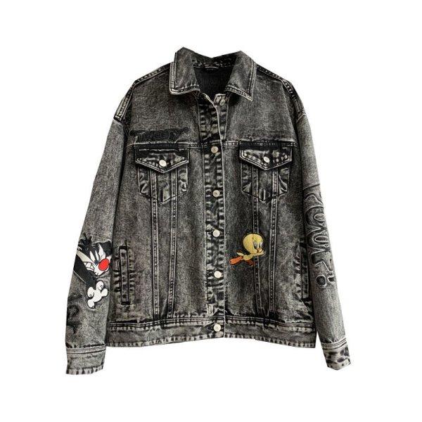 画像1: Tweet loose denim jacket coat トゥイーティーデニムジャケット Gジャン ルーニー・テューンズ (1)