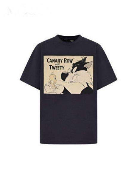画像1: Women'sTWEETY short-sleeved T-shirt f Looney Tunes TWEETS トゥイーティープリント半袖Tシャツ 男女兼用 (1)