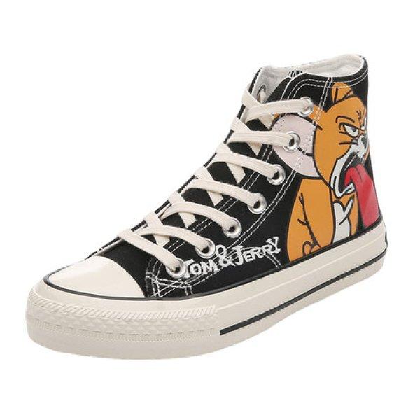 画像1: men's  high cut lace-upTom and Jerry  shoes Sneakers shoes ユニセックス男女兼用 ハイカットレースアップハイトップトムとジェリースニーカー (1)