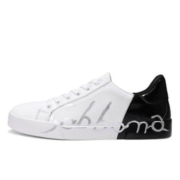 画像1: men's  men and women  Graphic letter logo paint lace-up  Sneakers shoes  ユニセックス男女兼用 レースアップグラフィックレターロゴペイントレザースニーカー (1)