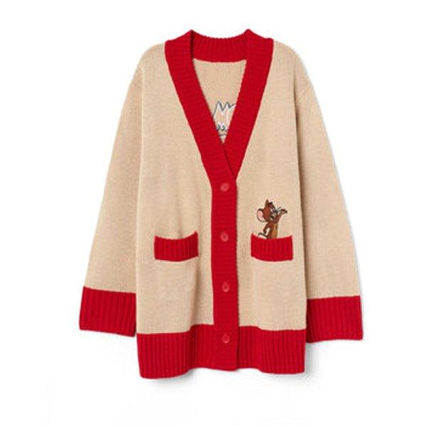 画像1: Women's  Tom and JerryV-neck Loose Knit Sweater Jacket トム&ジェリールーズV ネックカーディガンセーター ジャケット (1)