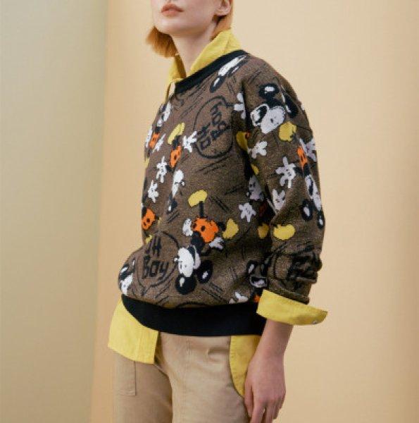 画像1: Women's Mickey Mouse pattern printed sweater  Jacket  ミッキーマウスパターンプリントセーター (1)