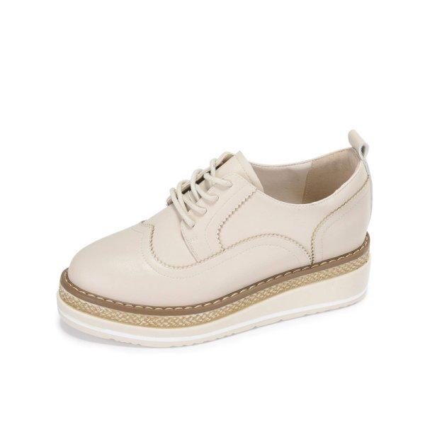 画像1:  women's Thick bottom espadrille lace-up leather loafers sneakers  厚底エスパドリーユレースアップレザーローファー スニーカー (1)