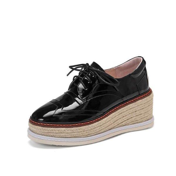 画像1:  women'sPatent leather espadrille lace-up leather loafers sneakers 本革パテント エナメルレザー厚底エスパドリーユレースアップレザーローファー スニーカー (1)
