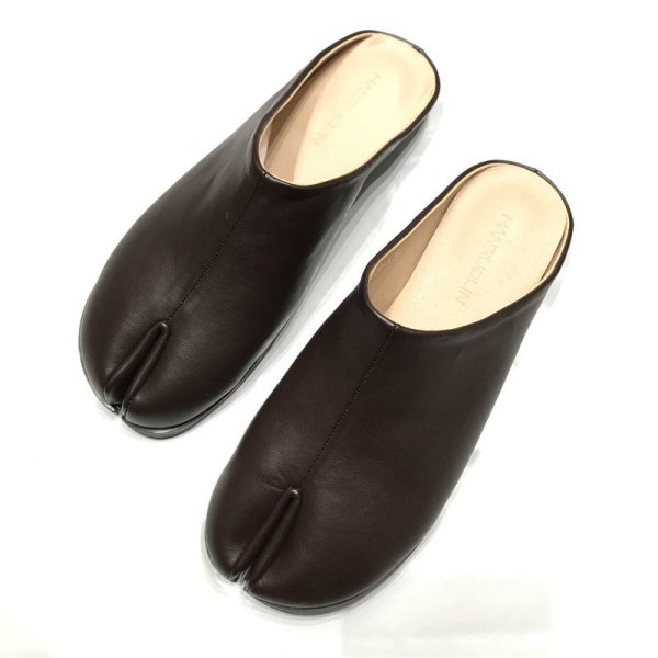 画像1: women's tabi Valley flat split toe half slippers pumps shoes  レザー足袋tabiバレーフラット スリッパ サンダル パンプスシューズ  (1)