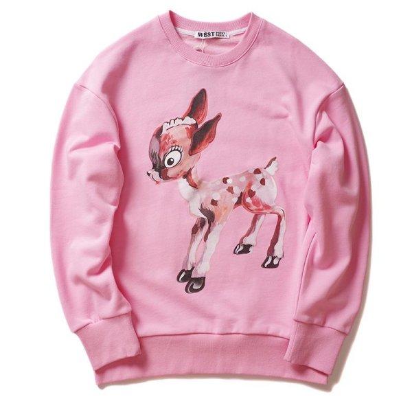 画像1: Women's Mickey Mouse pattern printed sweater  Jacket  バンビプリントスウェットトレーナープリントセーター (1)