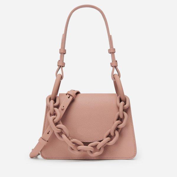 画像1: Woman's chain ring decoration flip hand ladle shoulder lipstick package handbag フリップハンドレードルショルダー口紅バッグトート ショルダークロスボディーハンドバック 斜め掛け (1)