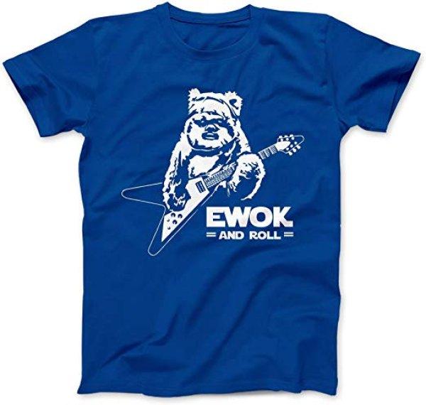画像1:  men's Bees Knees Tees Ewok and Roll Guitar Funny T-Shirt  ロックベアーロゴTシャツユニセックス男女兼用 (1)