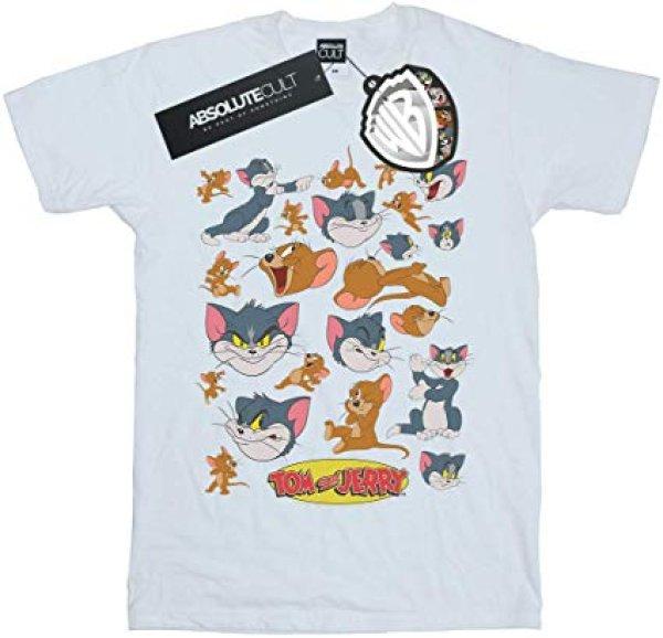 画像1: Absolute Cult Tom and Jerry Men's Many Faces T-Shirt トム&ジェリープリントTシャツプルオーバ ー ユニセックス 男女兼用 (1)