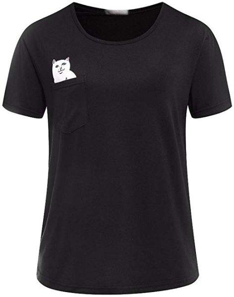 画像1: Women's Hubano Funny Pocket Cartoon Cat T Shirt  ポケット猫Tシャツ半袖Tシャツ 男女兼用 (1)
