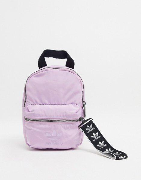 画像1:  adidas Originals trefoil logo mini backpack in lilac アディダスオリジナル  トレフォイルロゴミニバックパック  (1)