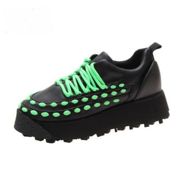 画像1:  women's Platform Chunky sole lace-up sneakers   レザー厚底 チャンキーソールレースアップスニーカー ローファー スニーカー (1)