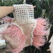 画像13: Woman's Feather Pearl Decoration Ostrich Fur Straw Bag   リアルフェザーパールデコレーションかご 籠ストローバック トート ハンドバック  (13)