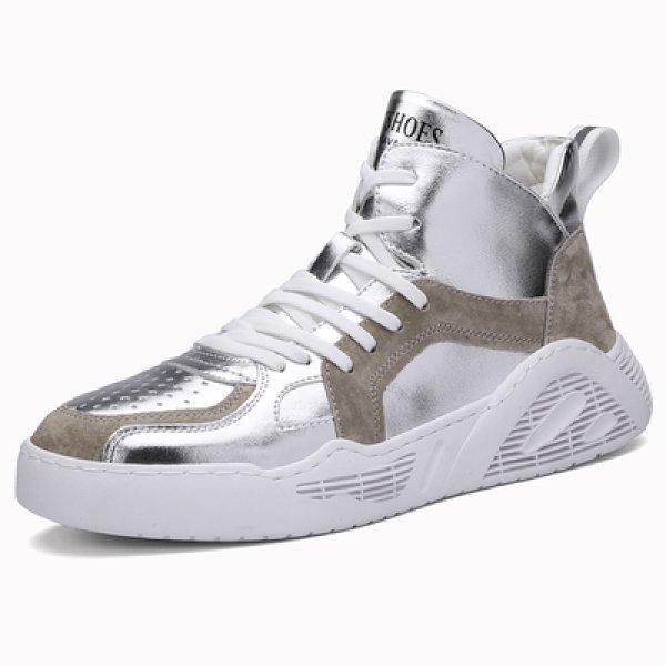画像1:  men's explosion models absorption  sneaker  shoes ハイカットレースアップメタリック系レザースニーカー  (1)