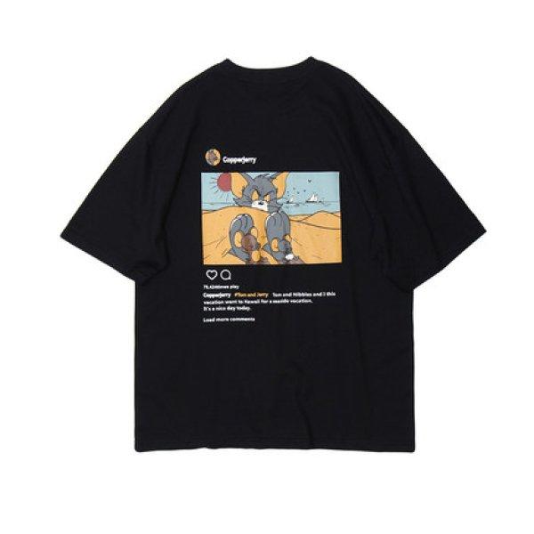 画像1: Men's TOM &JERRY alphabet cartoon anime tshirt オーバーサイズ ユニセックス 男女兼用 トム&ジェリー プリント SENSELESS センスレス レターロゴ入り 半袖Tシャツ (1)