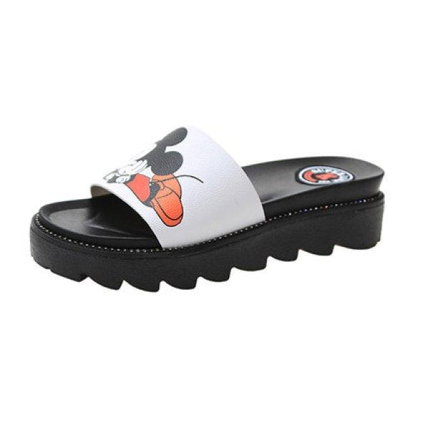 画像1: women's Mickey mouse flatbed sandals  slippers  ミッキーマウスベットフットフラットサンダル ミュール (1)