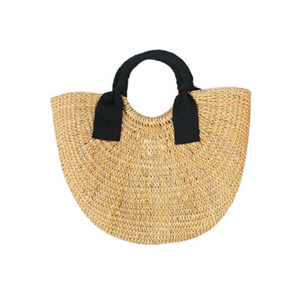 画像1: simple woven straw bag Handbag   シンプル籠 かごバッグハンドバッグ  (1)
