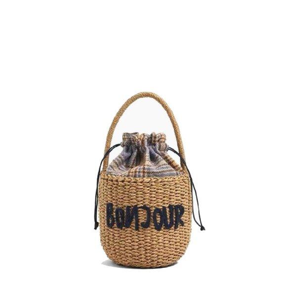 画像1: Retro round bucket straw bag letter hand woven bag   レター入りバケツストローバッグ 籠 かごバッグハンドバッグ  (1)