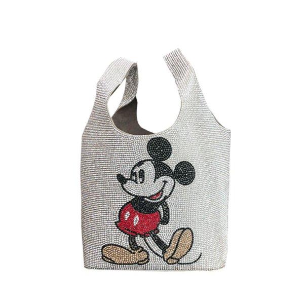 画像1: Women's Mickey Mouse Rhinestone Tote Bag Disney ミッキーマウス ラインストーントートバッグ (1)