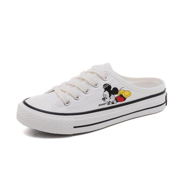 画像1: Women's Mickey Mouse canvas Half sneakers slippers  ミッキーマウス キャンバスハーフ スニーカー  スリッパ (1)