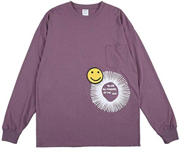 画像1: NAGRI  Smile Pattern Tshirt Crew Neck Long Sleeve T-Shirt Front Pocket Long Sleeve Tees ナグリ スマイルパターンフロントポケット長袖Tシャツ ユニセックス 男女兼用 (1)