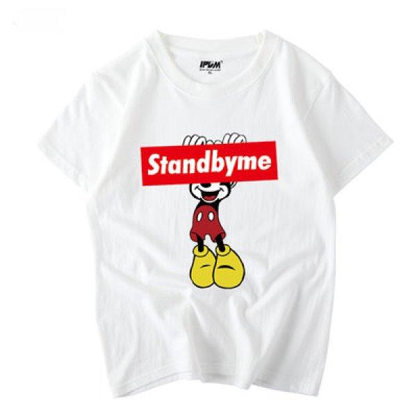 画像1: Red Box Logo Mickey Mouse T-shirt  レッドボックスロゴミッキーマウス半袖Tシャツ ユニセックス 男女兼用 (1)