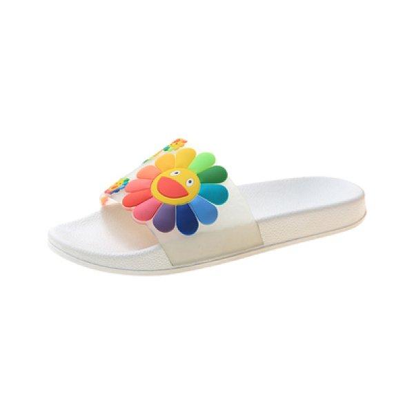 画像1: women's Smile flower flat sandals  slippers  スマイルフラワーフラットシャワーサンダル  (1)