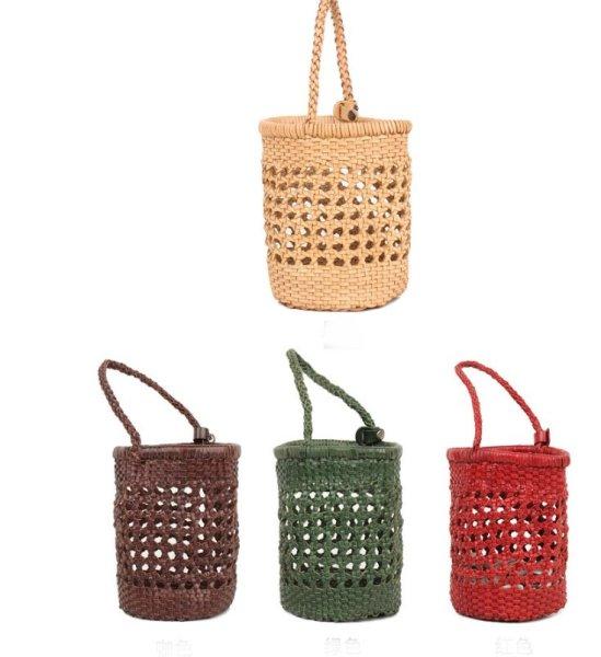 画像1: first layer cowhide woven bucket bag leather wild 本革 レザーブロードバンド織バケットトートショルダーバッグ  (1)